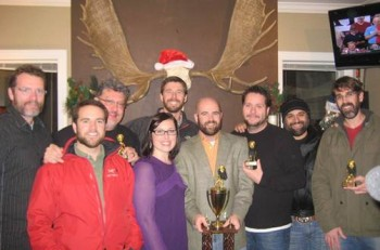 """Warner Music Nashville participants, event organizers and the winners who were present at the No Shave November """"Beard Bash""""  Peter Strickland (Warner Music Nashville SVP of Brand Management & Sales), Tyler Wall (WMN), Bob Reeves (WMN VP of Promotion), April Johnson (WMN), George Meeker (WMN), Brian Bowling (""""The Beard of the Year""""), WSIX's Billy Greenwood (""""The Whisker Award""""), Lou Ramirez (WMN), Country Aircheck's Chuck Aly (""""The MVP Award"""")"""