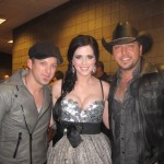 Keifer and Shawna Thompson of Thompson Square and Jason Aldean celebrate their multiple trophy wins backstage at the 2nd Annual American Country Awards at the MGM Grand Garden Arena in Las Vegas on Dec. 5.