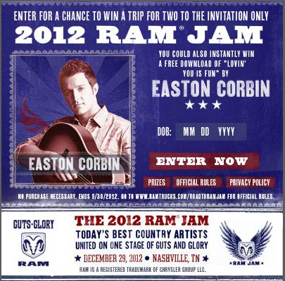 Easton Corbin Ram Jam - CountryMusicRocks.net