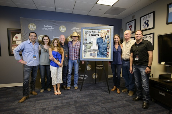 Photo ID (L to Right): Jonathan Lamy (Executive Vice President, Communications, RIAA), Cara Duckworth Weiblinger (Vice President, Communications, RIAA), Lee Adams (VP of National Promotion, Broken Bow Records), Benny Brown (President/CEO, Broken Bow Records), Jason Aldean, Liz Kennedy (Director, Communications and Gold & Platinum Program, RIAA), Rick Shedd (GM, Broken Bow Records) and Jon Loba (Executive Vice President, Broken Bow Records)